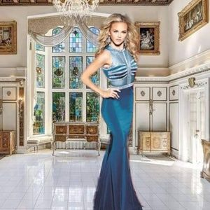 Vienna Beaded Mesh Bodice Mermaid Prom Gown CBV026